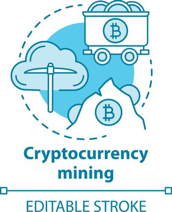 Cryptocurrency mining blue concept icon. Electronic money idea thin line illustration. Cryptomining, blockchain. Digital currency transaction. Vector isolated outline drawing. Editable stroke