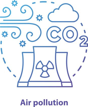 Air pollution concept icon. Atmosphere & industrial waste contamination idea thin line illustration in blue. CO2, smog emission. Gas polluted urban areas. Vector isolated outline drawing