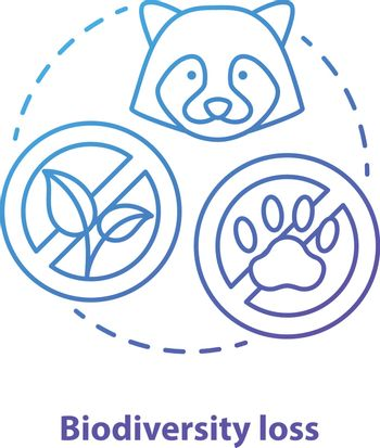 Biodiversity loss concept icon. Disappearance of plants and animals from planet idea thin line illustration in gradient blue. Extinction of species. Vector isolated outline drawing