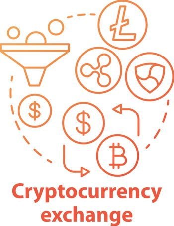 Cryptocurrency exchange red concept icon. Trading digital currency, bitcoins for other assets idea thin line illustration. Stock market. Payment method. Vector isolated outline drawing