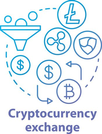 Cryptocurrency exchange blue concept icon. Trading digital currency for other assets idea thin line illustration. Online business. Electronic payment. Vector isolated outline drawing