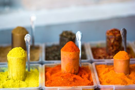 The central city market. Traps with different spices.