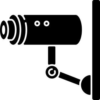 Video surveillance black glyph icon