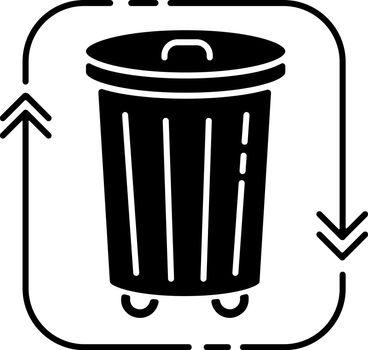 Waste disposal black glyph icon