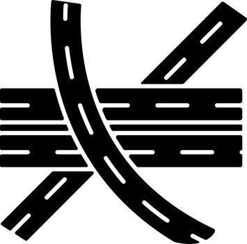 Multi level junction black glyph icon