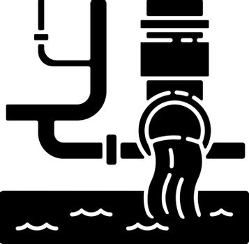 Water supply black glyph icon