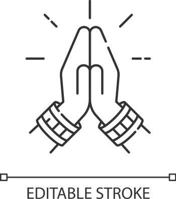 Namaste pixel perfect linear icon. Hindu greeting. Hands pressed together. Anjali Mudra. Thin line customizable illustration. Contour symbol. Vector isolated outline drawing. Editable stroke
