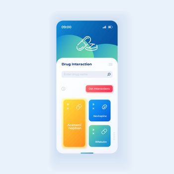 Drug interaction smartphone interface vector template
