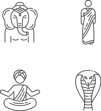 Indian culture pixel perfect linear icons set. Lord Ganesha. Sari dress. Yogi in turban. King cobra. Customizable thin line contour symbols. Isolated vector outline illustrations. Editable stroke