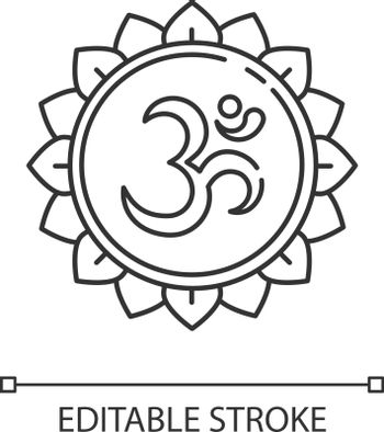 Om pixel perfect linear icon. Aum visual representation. Sacred syllable. Sound of universe. Thin line customizable illustration. Contour symbol. Vector isolated outline drawing. Editable stroke