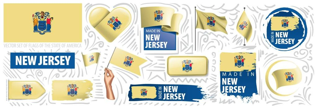 Vector set of flags of the American state of New Jersey in different designs.