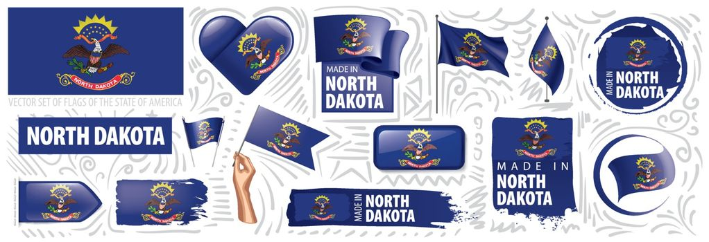 Vector set of flags of the American state of North Dakota in different designs.