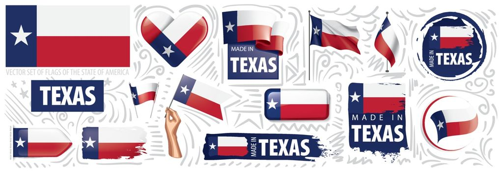 Vector set of flags of the American state of Texas in different designs.