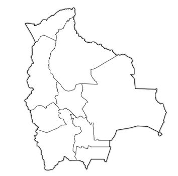 territories of regions on administration map of Bolivia