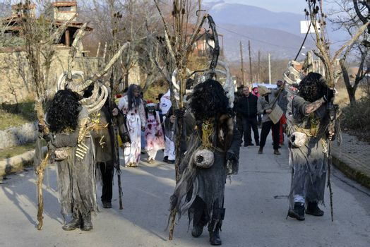 VEVCANI, MACEDONIA - 13 JANUARY , 2020: General atmosphere with dressed up participants at an annual Vevcani Carnival, in southwestern Macedonia