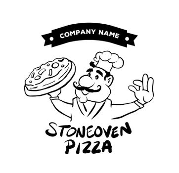 Pizza advertisement vector with character