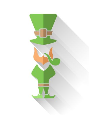 Leprechaun with pipe and top hat vector