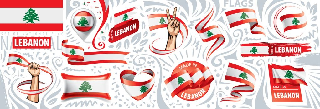 Vector set of the national flag of Lebanon in various creative designs.