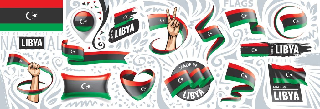 Vector set of the national flag of Libya in various creative designs.