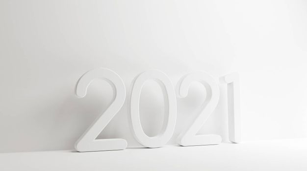 year 2021 bold letters 3d-illustration
