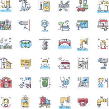 City infrastructure RGB color icons set