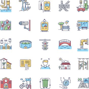 Urban infrastructure RGB color icons set