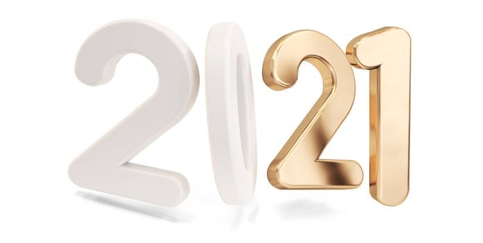 2021 white golden bold letters isolated 3d-illustration