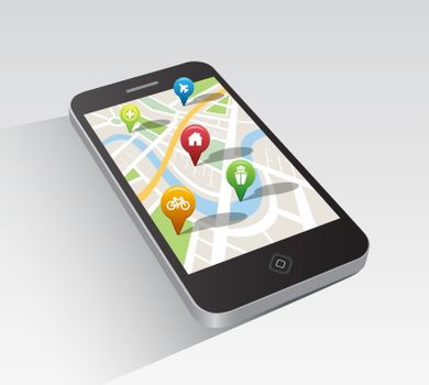 Map application on smartphone