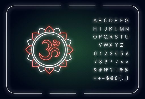 Om neon light icon. Aum visual representation. Sacred syllable. Sound of universe. Outer glowing effect. Sign with alphabet, numbers and symbols. Vector isolated RGB color illustration