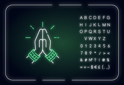 Namaste neon light icon. Hindu greeting. Hands pressed together. Anjali Mudra. Praying hands. Outer glowing effect. Sign with alphabet, numbers and symbols. Vector isolated RGB color illustration