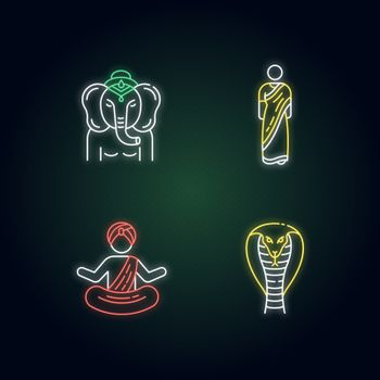 Indian culture neon light icons set. Lord Ganesha. Religious symbol. Sari dress. Hindu clothing. Yogi in turban. King cobra. Signs with outer glowing effect. Vector isolated RGB color illustrations