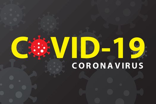 Covid-19 coronavirus pandemic outbreak banner. Black background. Stay at home quarantine concept. Health care and medical vector.