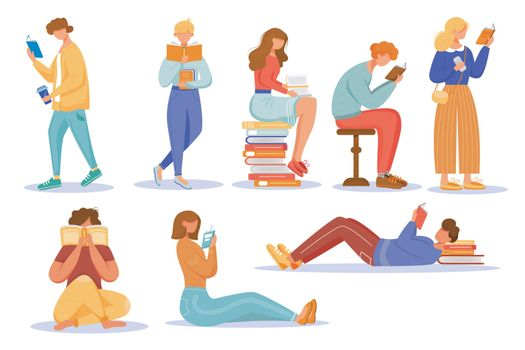 Books reading flat vector illustrations set. School education. Students studying textbooks. Keen readers. Happy world book day. Men and women read literature isolated cartoon characters