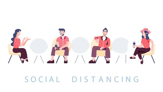 Group of people sitting separate physical distancing. Social distancing new normal. Covid-19 coronavirus pandemic outbreak banner. Health care and medical vector.