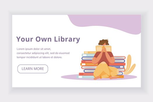 Your own library landing page vector template. World book day website interface idea with flat illustrations. Bookstore homepage layout. Keen reader web banner, webpage cartoon concept