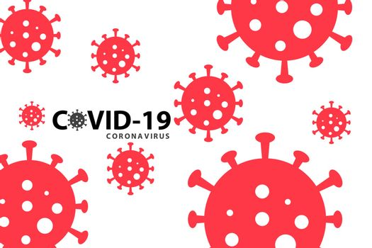 Covid-19 coronavirus pandemic outbreak banner. Red virus on white background. Stay at home quarantine concept. Health care and medical vector.