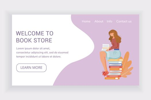 Welcome to book store landing page vector template. Bookshop website interface idea with flat illustrations. Library homepage layout. Reader sit on stack of tomes web banner, webpage cartoon concept