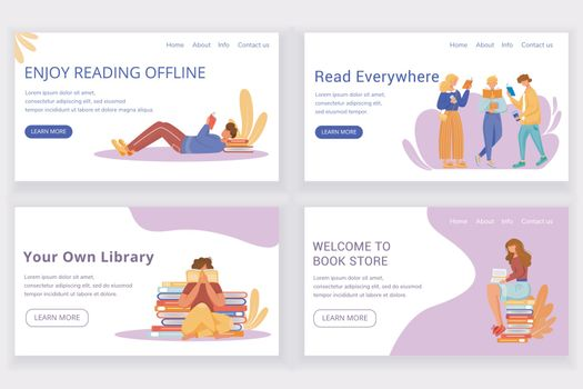Reading book landing page vector template set. Offline bookstore website interface idea with flat illustrations. Library homepage layout. Keen reader web banner, webpage cartoon concept