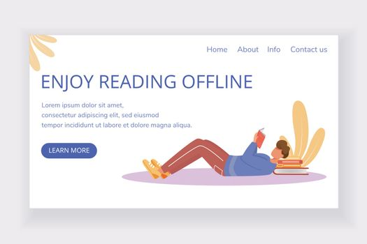 Enjoy reading offline landing page vector template. Bookstore website interface idea with flat illustrations. Keen reader homepage layout. Man with paperbook web banner, webpage cartoon concept