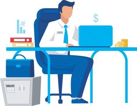 Office worker, clerk flat vector illustration. Company employee,
