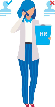 HR manager, recruiter flat vector illustration. Recruitment agen