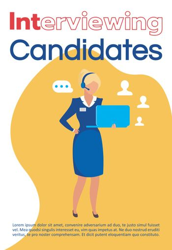 Interviewing candidates brochure template. Headhunting flyer, bo