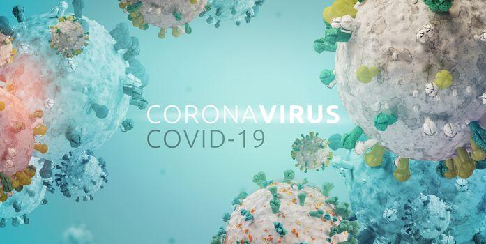 Corona Virus Microbiology And Virology Concept. Covid-19 design 3d-illustration