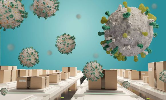 packages and symbolic virus cell. logistics center corona virus covid-19 3d-illustration