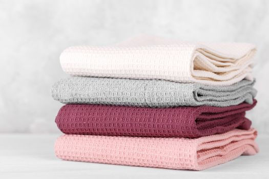 Stack of cotton kitchen towels