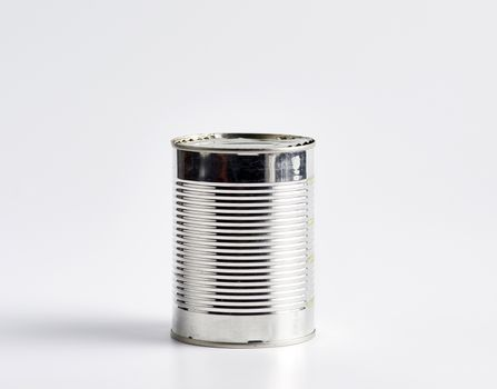 hard iron can for food preservation on a white background