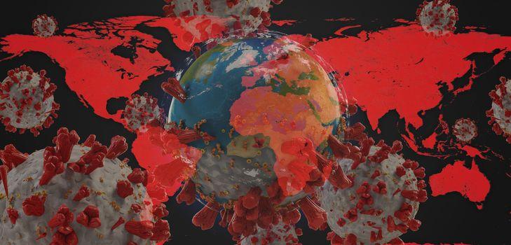 world map  global virus COVID-19 Coronavirus symbolic detailed design background 3d-illustration. elements of this image furnished by NASA