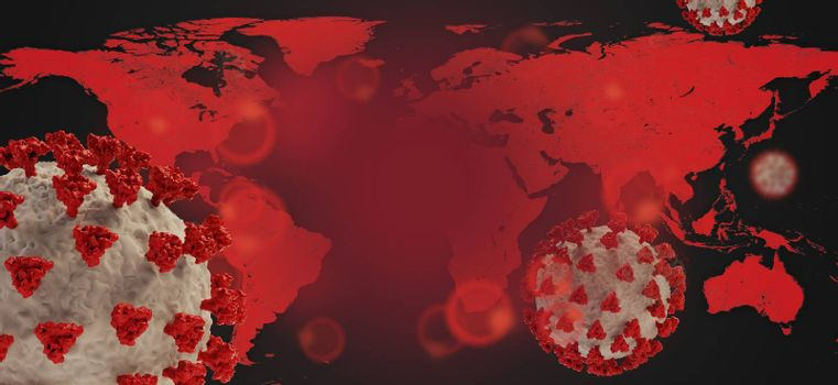 Coronavirus COVID-19 world map red background. elements of this image furnished by NASA