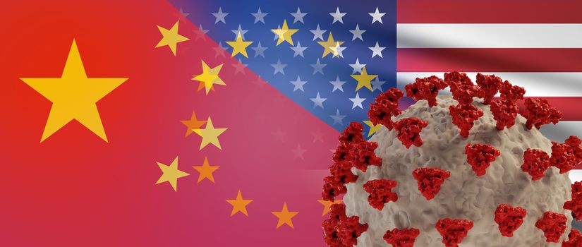 flags of China America and Europe combined Coronavirus. 3d-illustration