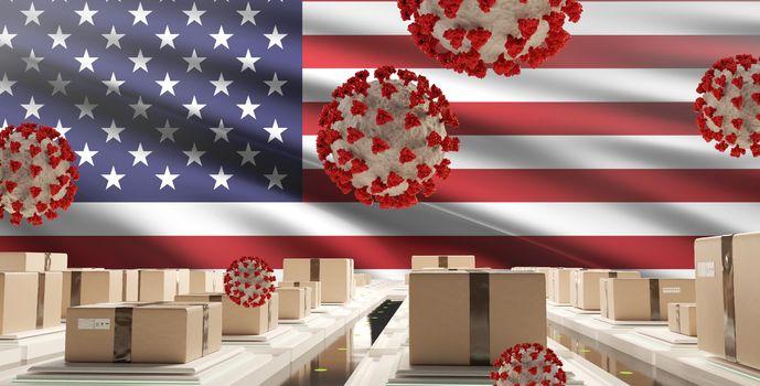 flag of America packages Coronavirus Covid-19 symbolic 3d-illustration